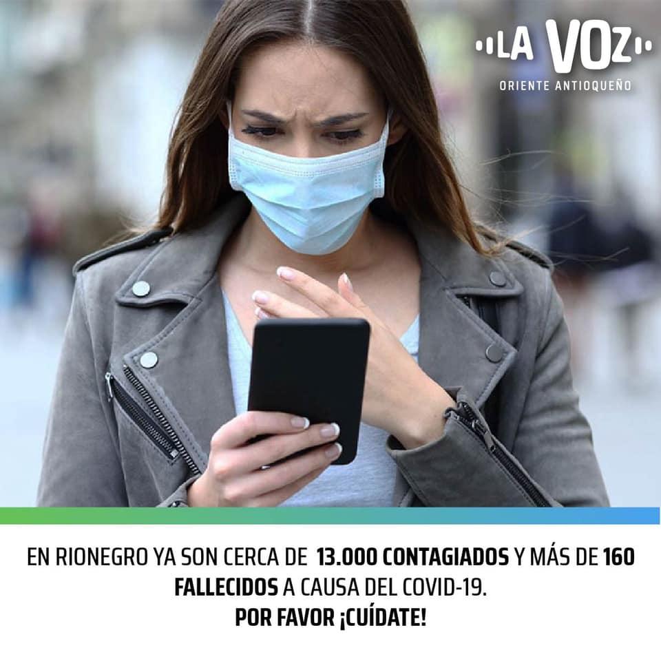 En Rionegro ya son cerca de 13.000 contagiados y más de 160 fallecidos por COVID